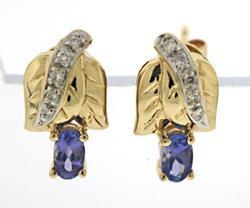 Gorgeous Tanzanite and Diamond Flower Earrings
