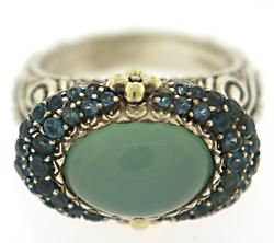 Sterling Silver Bixby Chalcedony & Blue Topaz Ring