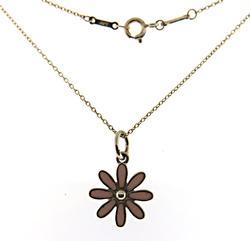 Tiffany & Co Pink Enamel Daisy Charm Necklace
