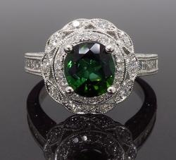18K White Gold Green Tourmaline & Diamond Ring
