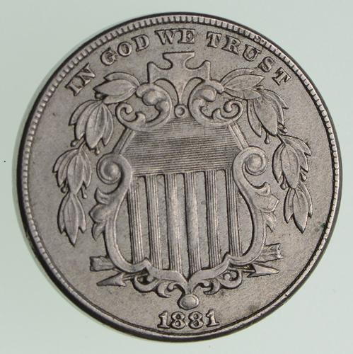 1881 Shield Nickel - Circulated
