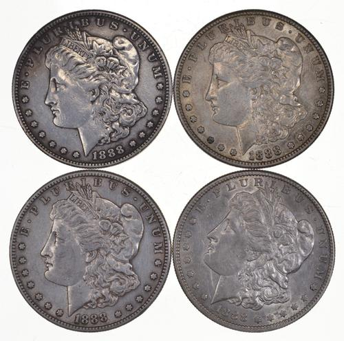 Lot (4) 1888-S Morgan Silver Dollars