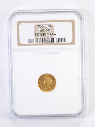 AU58 1855 Type 2 Indian Princess Head Gold Dollar - Graded NGC