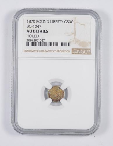 AU Details 1870 Round Liberty Head California Gold Half Dollar - NGC