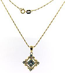 Fantastic Blue Topaz Filgree Pendant Necklace