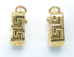 Chunky Greek Key J Earrings in 18KT Gold