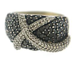 Stylishly Unique Black & White Diamond Pave Ring