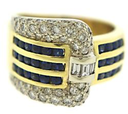 18kt Blue Sapphire and Diamond Buckle Ring