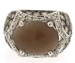 Fabulous Smokey Quartz w Diamond Ring