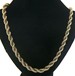Classic Long Two Tone Rope Chain Necklace