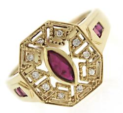 Amazing Deco Style Ruby & Diamond Ring
