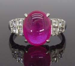 Cabochon Cut Ruby and Diamond Ring in Platinum