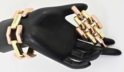 Super 14K Deco Bracelet and Brooch Set