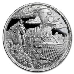 2oz High Relief Silver Round Lawless Train Robber