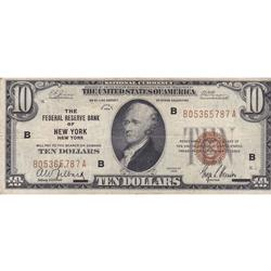 1929 $10 Federal Reserve Note New York NY Circulated
