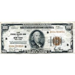 1929 $100 Federal Reserve Note New York NY Circulated