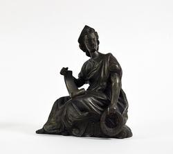 Vintage Seated Classic Greek Woman Bronze Figure Statue