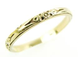 Antique 14K Floral Engraved Narrow Band, Size 6