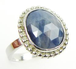 Sterling Ring with Rose Cut Natural Blue Sapphire