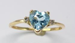 Sweet Heart-Cut Blue Topaz Ring in Yellow Gold