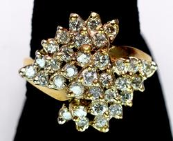 Sparkling 1.9CTW Diamond Cluster Ring, 14KT Yellow Gold