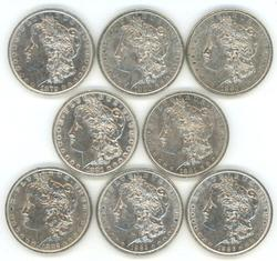 8 Diff. lustrous Morgan Silver Dollars 1879 to 1886