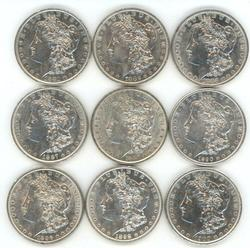 9 Diff. lustrous Morgan Silver Dollars 1881-O to 1900