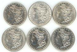 6 Diff. upper end Morgan Silver Dollars 1879 to 1900