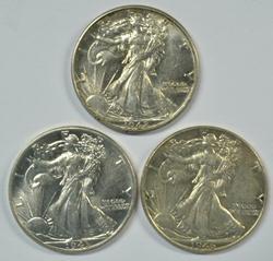 3 Great BU Walking Liberty Half Dollars: 1942, 44, & 46