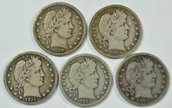 5 Diff. Barber Head Quarters 1908 to 1915. Full Liberty