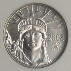 Superb Gem BU 2008 $10 pure Platinum Eagle coin