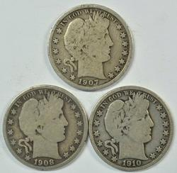 3 Diff. better Barber Half Dollars in nice conditions
