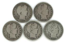 5 Diff. collectible Barber Half Dollars 1892 to 1915-D