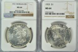 1921 Morgan & 1923 Peace Silver Dollars in NGC MS64