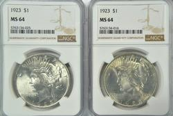 2 Great NGC MS64 graded 1923 Peace Silver Dollars