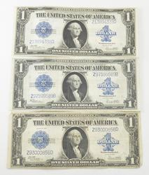 Lot (3) 1923 $1 Silver Certificate - Large Sized Notes