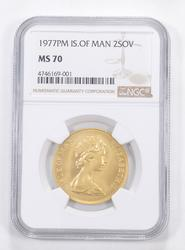 MS70 1977-PM Isle Of Man 2 Sovereign - Graded NGC