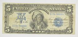 1899 $5 Chief Running Antelope Silver Certificate Note - Horse Blanket