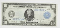 1914 $10 Federal Reserve Note - New York, NY - Horse Blanket