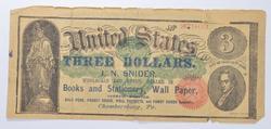 May 10, 1869 $3 J.N. Snider Advertising Note