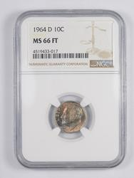 MS66 FT 1964-D Roosevelt Dime - TONED - Graded NGC