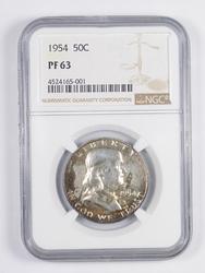 PF63 1954 Franklin Half Dollar - TONED - Graded NGC