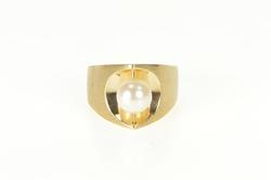 14K Yellow Gold Spinner Pearl Pointed Statement Cocktail Ring