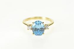 14K Yellow Gold Oval Blue Topaz Diamond Accent Statement Ring