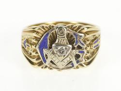 10K Yellow Gold Retro Masonic Motif Diamond G Enamel Men's Ring