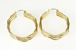 14K Yellow Gold Layered Design Geometric Fashion Hoop Earrings