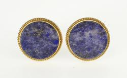 14K Yellow Gold Ornate Retro Pyritic Sodalite Rope Trim Cuff Links