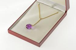 18K Yellow Gold Baccarat Purple Glass Snake Chain Lavalier Necklace