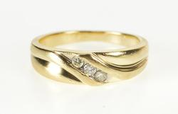 10K Yellow Gold Three Stone Diamond Men's Wedding Band Ring