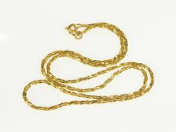14K Yellow Gold 1.4mm Rope Link Textured Twist Fashion Chain Necklace